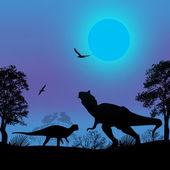 силуэты динозавров в красивом пейзаже — Cтоковый вектор