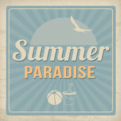 Summer paradise retro poster — Stock Vector