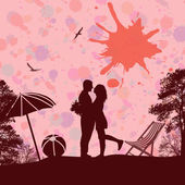 Romantic couple on the beach — Stock Vector
