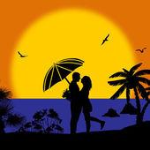 Pareja romántica en la playa de puesta de sol — Vector de stock