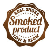 Smoked product sticker, icon,stamp or label — Vector de stock