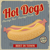 Vintage hot dogs poster — Stock Vector
