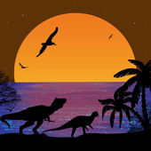 Dinosaurs silhouettes in beautiful seascape — Stock Vector