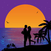 Couple silhouettes on sunset — Stock Vector