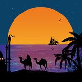 Camel caravan at sunset — Stock Vector