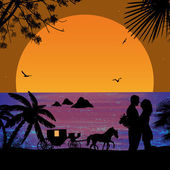 Carriage and lovers at sunset  — Stock Vector