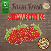 Vintage farm fresh strawberries poster — Stock Vector