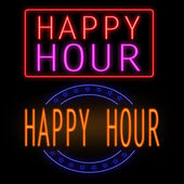 Happy hour neon sign — Vector de stock