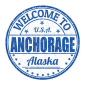Welcome to Anchorage stamp — Stock Vector