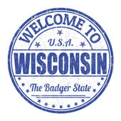 Welcome to Wisconsin stamp — Stock Vector