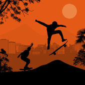 Skater silhouettes on sunset — 图库矢量图片