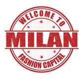 Welcome to Milan stamp — Stock Vector