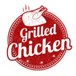 Grilled chicken stamp — Stock Vector