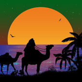 Camel caravan at sunset — Stock Vector