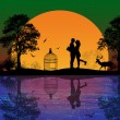 Deer and lovers at sunset — Stock Vector #51546579