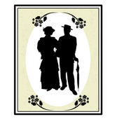 Old people silhouettes on frame — Stock Vector