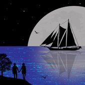 Night seascape with boat and couple silhouettes — Stockvector