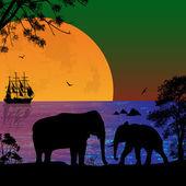 Éléphants dans le paysage magnifique — Vecteur