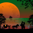 Carriage and lovers at sunset — Stock Vector #51693741