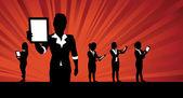 Business women tablet background — Stock Vector