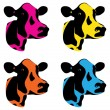 Stock Vector: Cow heads
