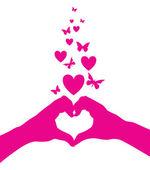 Love heart hands — Cтоковый вектор