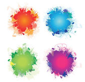 A set of four colourful ink splashes — Stock Vector
