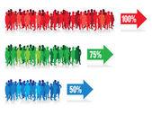 色彩缤纷的人物剪影背景线 — Stock vektor
