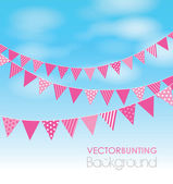 Pink bunting on a sky background — Stock Vector