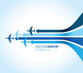 Four blue airplanes — Stock Vector