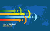 Four colourful airplanes — Stockvector
