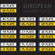 Set of european number plates — Stock Vector