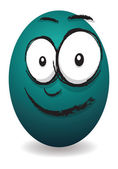 Cartoon blue happy egg face — Stock Vector