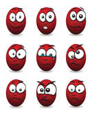 Caras de huevo cartoon rojo — Vector de stock