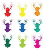Set of stags — Stock Vector