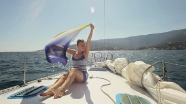On a yacht — Stock Video