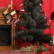 A man and a woman searching for their presents under a Christmas tree. Presents under a Christmas tree. — Stock Video