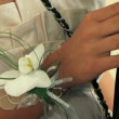 Stock Video: Bride and groom with bouquet