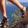 Girls in high heels on a hill — Stock Video