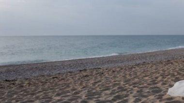 Novomanželé odpočiňte si na písečné pláži. — Stock video