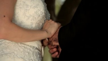 Nygifta i park — Stockvideo