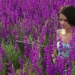 Stock Video: Computer technics on nature. beautiful young girl is among lavender flowers and is working on laptop.