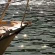 Nose yacht. Nose small boat against water sparkling in sun. — Stock Video #18250799