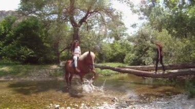 Vrouw een smalle rivier oversteken op een paard. — Stockvideo