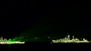 Laser Parade of naval forces. — Stock Video