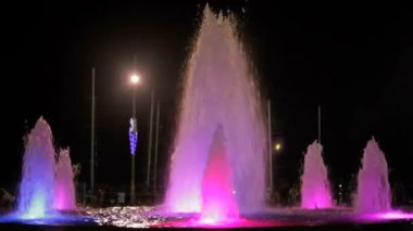 Fountains with color highlights. — Stock Video