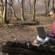 Womworking with laptop on nature. Womprints on laptop at background of beautiful forest. — Stock Video #18883677