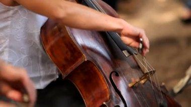 Violonchelista. musicos profesionales tocando el violonchelo en la orquesta sinfónica. — Vídeo de stock
