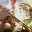 Man playing trumpet. Man of the orchestra playing the trumpet professionally. — Stock Video #18922647