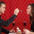 Dinner. Young couple celebrate valentines day for a romantic dinner. — Stock Video